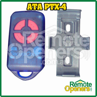 ATA PTX-4 Blue/Red Secueracode Garage Door Remote Transmitter with Wall Clip